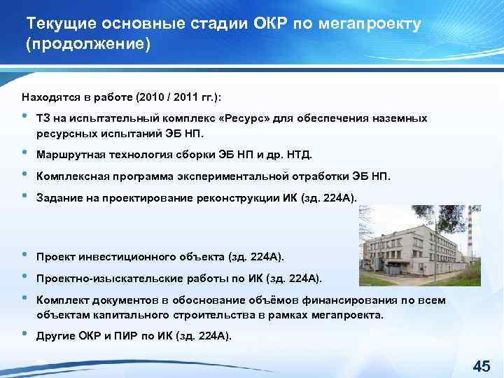 Текущие основные стадии ОКР по мегапроекту (продолжение) Находятся в работе (2010 / 2011 гг.