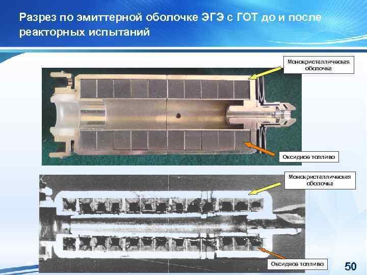Разрез по эмиттерной оболочке ЭГЭ с ГОТ до и после реакторных испытаний Монокристаллическая оболочка