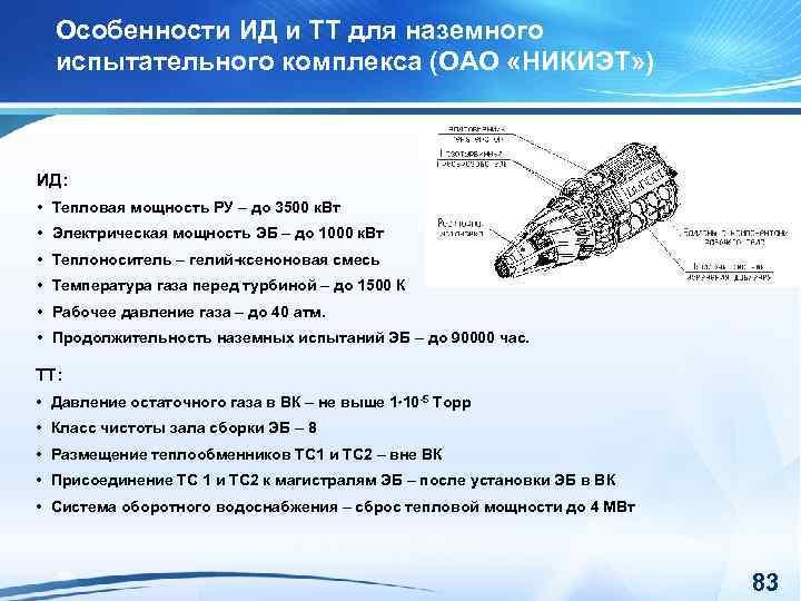 Особенности ИД и ТТ для наземного испытательного комплекса (ОАО «НИКИЭТ» ) ИД: • Тепловая