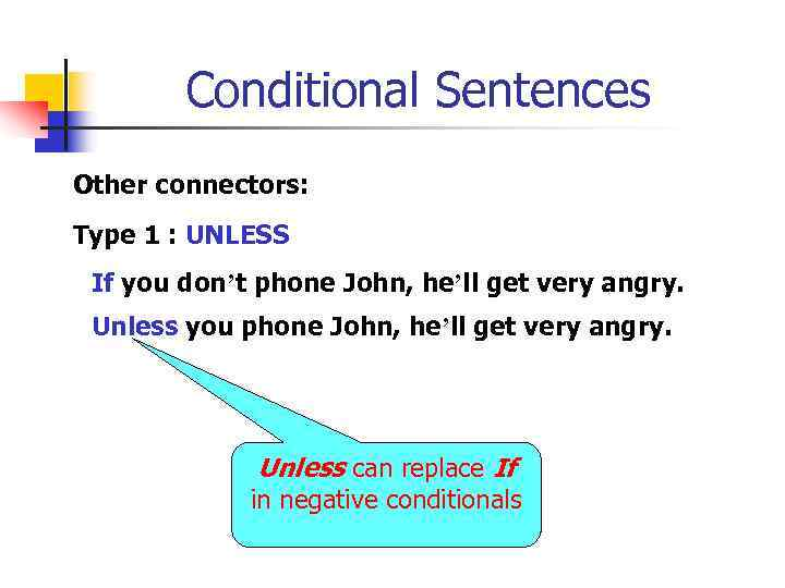 Conditional Sentences Other connectors: Type 1 : UNLESS If you don't phone John, he'll
