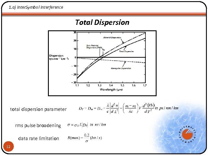1. a) Inter. Symbol Interference Total Dispersion total dispersion parameter rms pulse broadening data