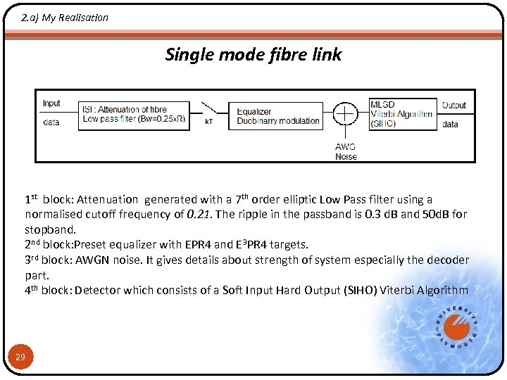 2. a) My Realisation Single mode fibre link 1 st block: Attenuation generated with