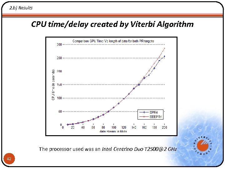 2. b) Results CPU time/delay created by Viterbi Algorithm The processor used was an