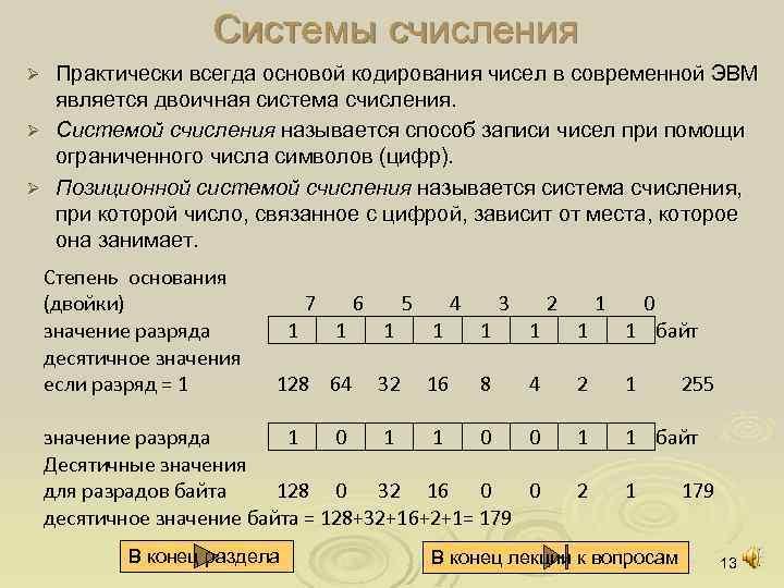 Системы счисления Практически всегда основой кодирования чисел в современной ЭВМ является двоичная система счисления.