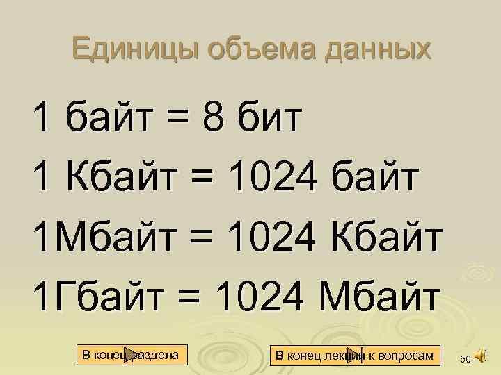 Единицы объема данных 1 байт = 8 бит 1 Кбайт = 1024 байт 1
