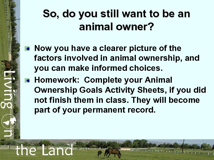 So, do you still want to be an animal owner? Living n Now you