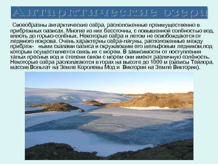 Своеобразны антарктические озёра, расположенные преимущественно в прибрежных оазисах. Многие из них бессточны, с повышенной