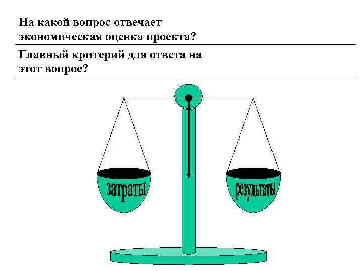 На какой вопрос отвечает экономическая оценка проекта? Главный критерий для ответа на этот вопрос?