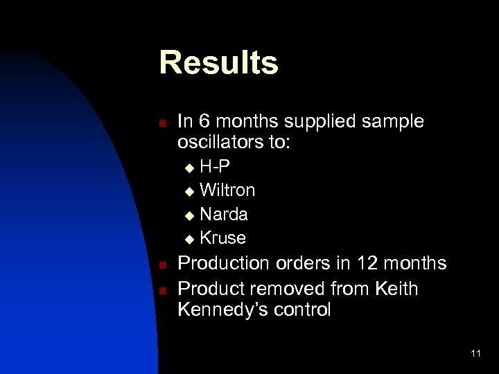 Results n In 6 months supplied sample oscillators to: H-P u Wiltron u Narda