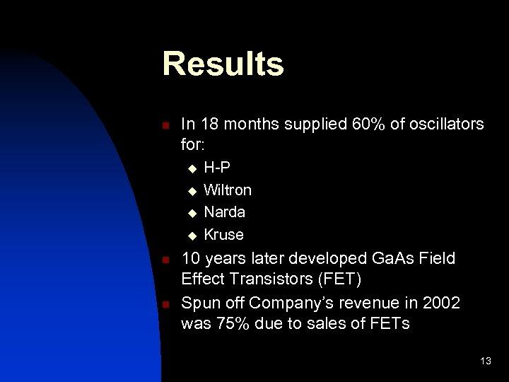 Results n In 18 months supplied 60% of oscillators for: u u n n