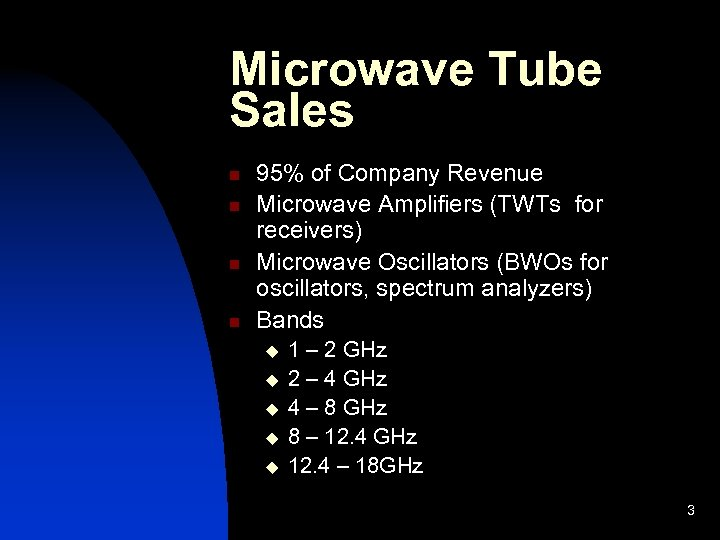 Microwave Tube Sales n n 95% of Company Revenue Microwave Amplifiers (TWTs for receivers)
