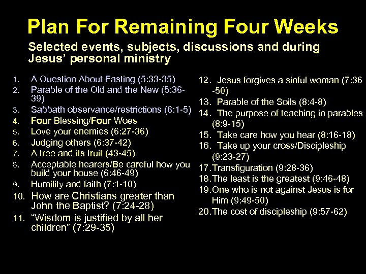Plan For Remaining Four Weeks Selected events, subjects, discussions and during Jesus' personal ministry
