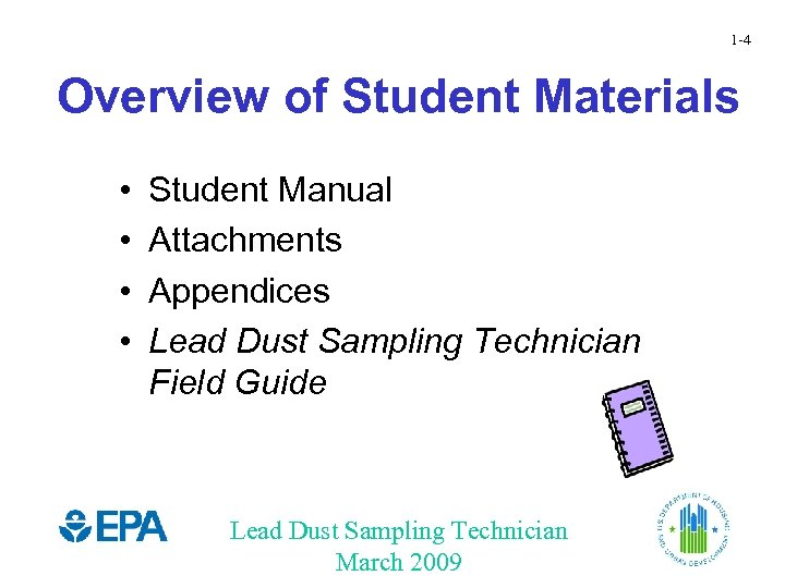 1 -4 Overview of Student Materials • • Student Manual Attachments Appendices Lead Dust