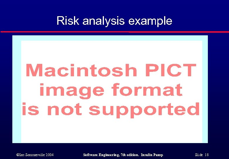 Risk analysis example ©Ian Sommerville 2004 Software Engineering, 7 th edition. Insulin Pump Slide