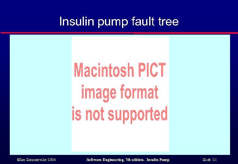 Insulin pump fault tree ©Ian Sommerville 2004 Software Engineering, 7 th edition. Insulin Pump