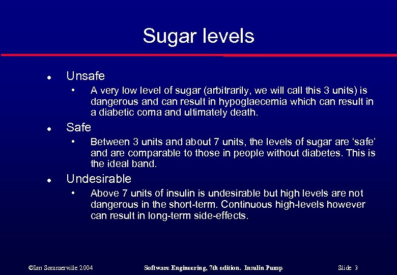 Sugar levels l Unsafe • l Safe • l A very low level of