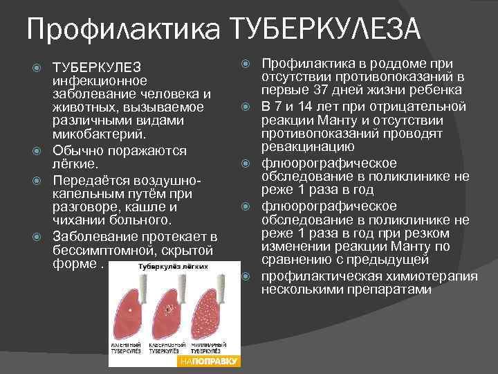 Профилактика ТУБЕРКУЛЕЗА ТУБЕРКУЛЕЗ инфекционное заболевание человека и животных, вызываемое различными видами микобактерий. Обычно поражаются