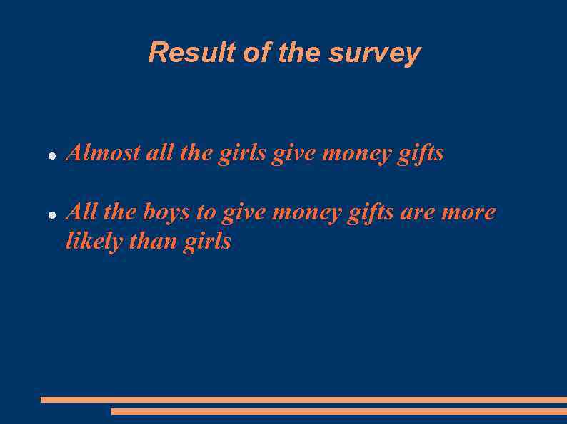 Result of the survey Almost all the girls give money gifts All the boys