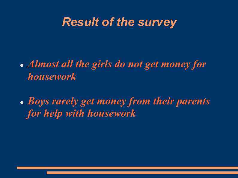 Result of the survey Almost all the girls do not get money for housework