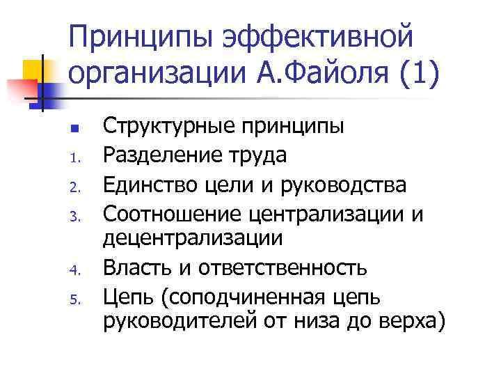 Принципы эффективной организации А. Файоля (1) n 1. 2. 3. 4. 5. Структурные принципы