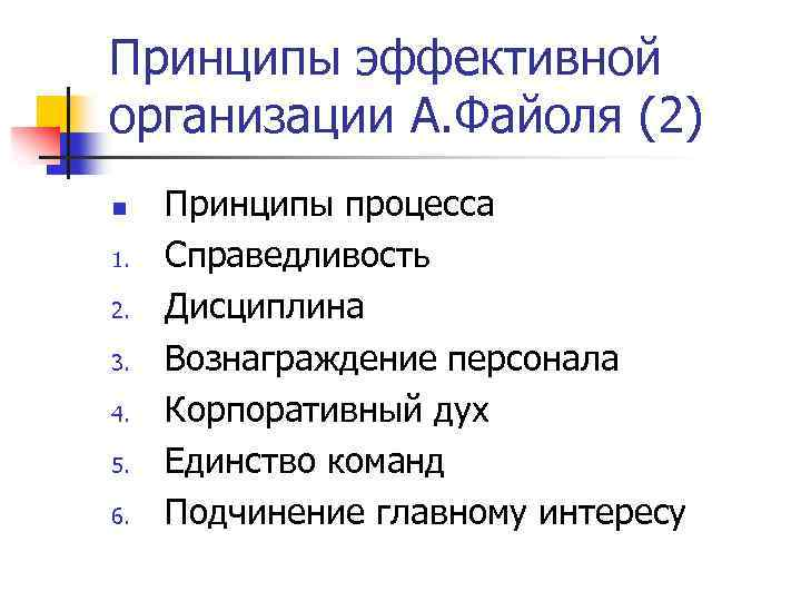 Принципы эффективной организации А. Файоля (2) n 1. 2. 3. 4. 5. 6. Принципы
