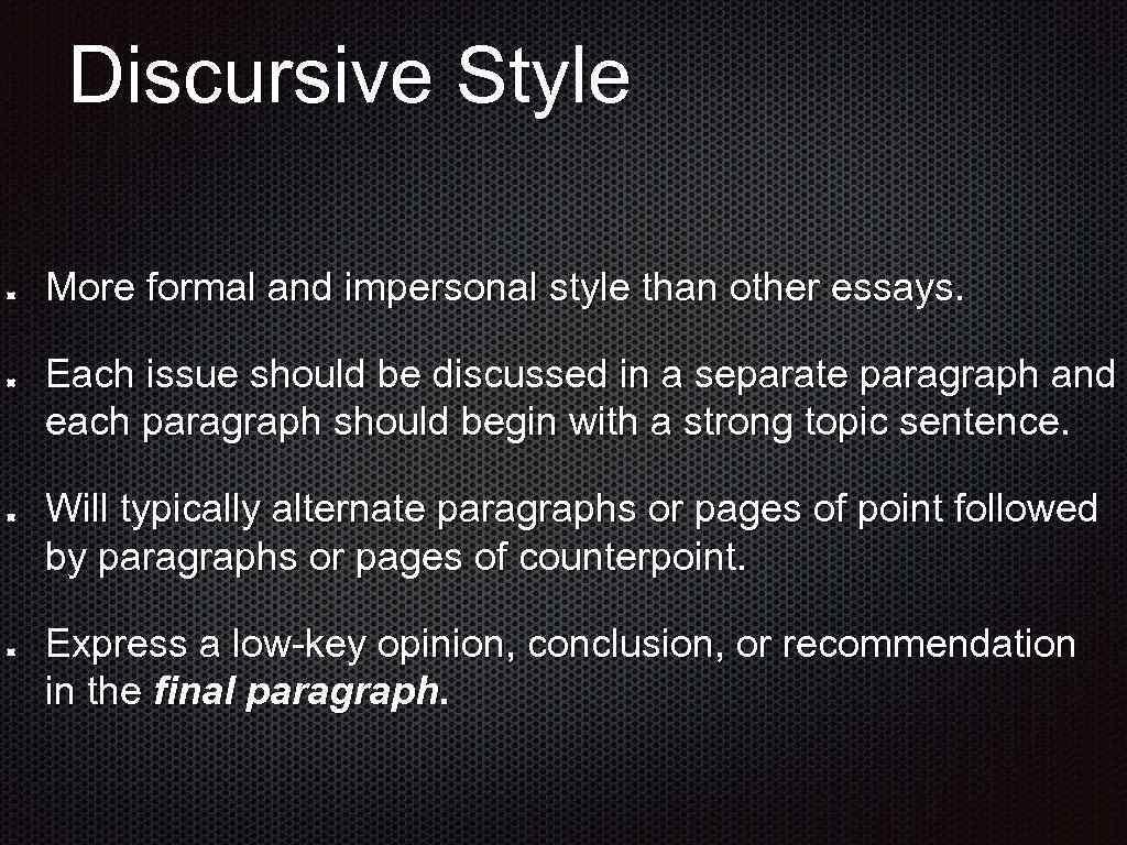 sentence using discursive