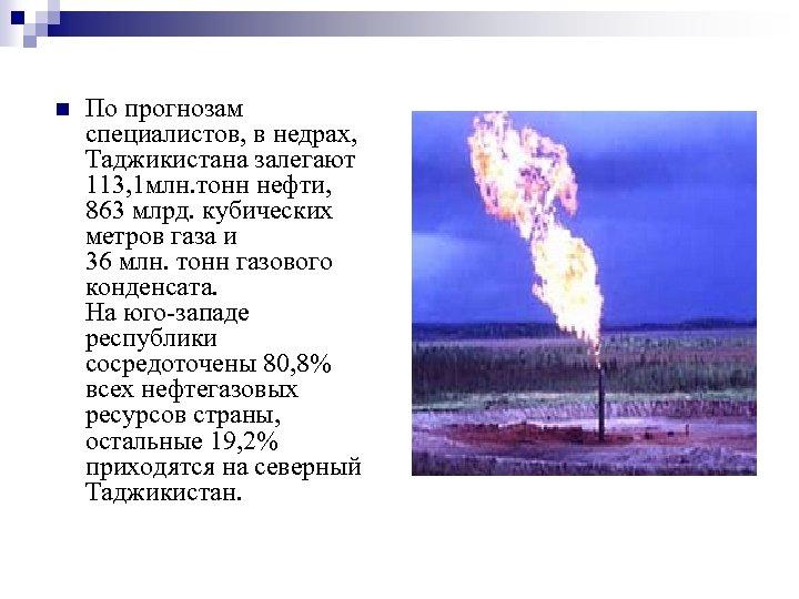 n По прогнозам специалистов, в недрах, Таджикистана залегают 113, 1 млн. тонн нефти, 863