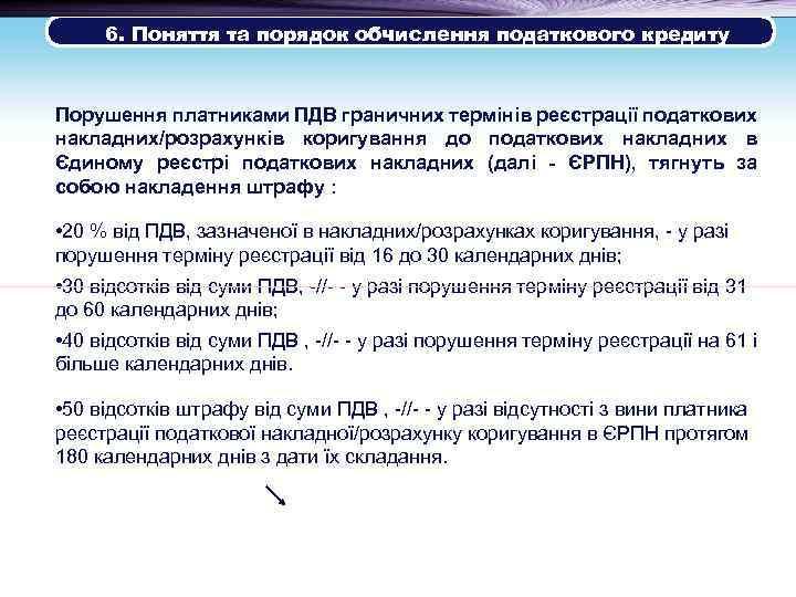 6. Поняття та порядок обчислення податкового кредиту Порушення платниками ПДВ граничних термінів реєстрації