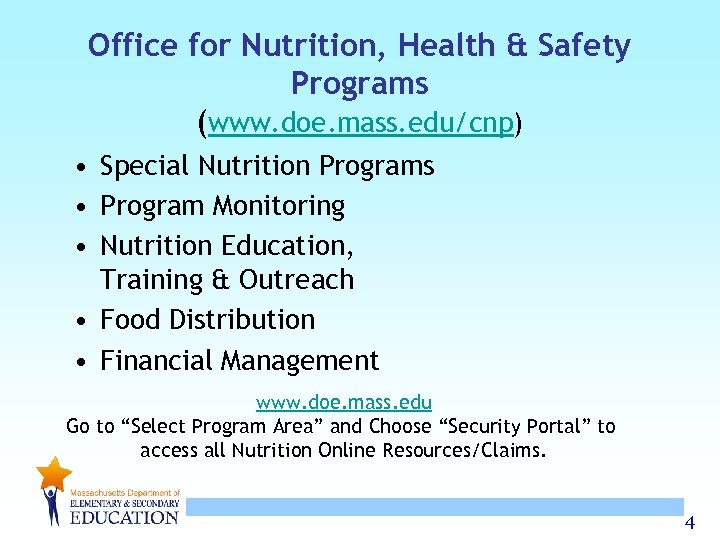 Office for Nutrition, Health & Safety Programs (www. doe. mass. edu/cnp) • Special Nutrition