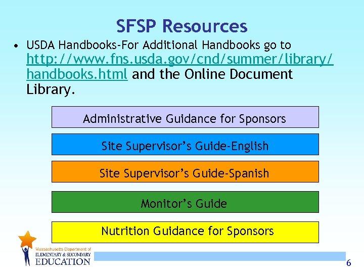SFSP Resources • USDA Handbooks-For Additional Handbooks go to http: //www. fns. usda. gov/cnd/summer/library/