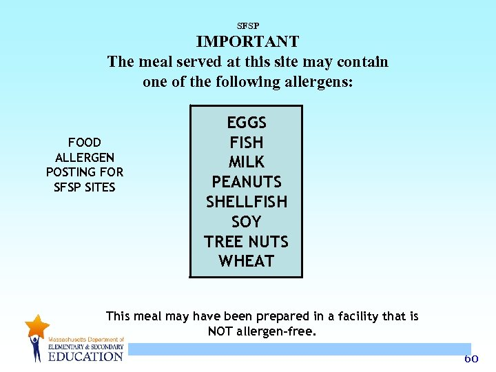 SFSP IMPORTANT The meal served at this site may contain one of the following
