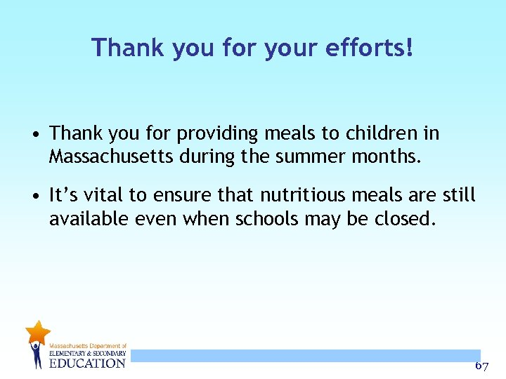 Thank you for your efforts! • Thank you for providing meals to children in