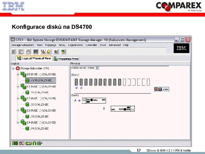 Konfigurace disků na DS 4700 13 DSxxxx & IBM i / 2. 1 /