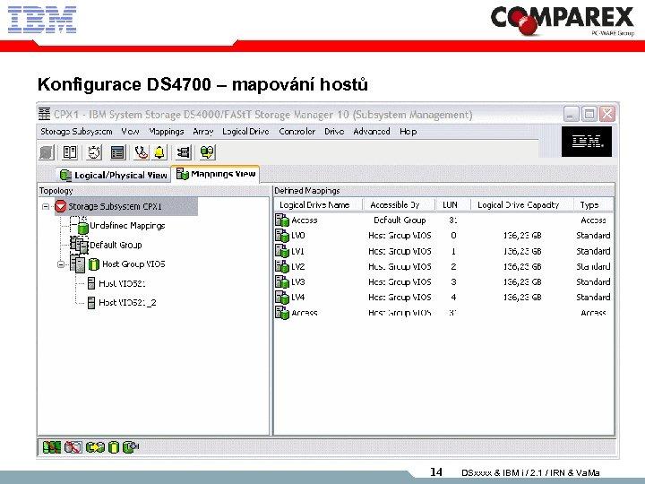 Konfigurace DS 4700 – mapování hostů 14 DSxxxx & IBM i / 2. 1
