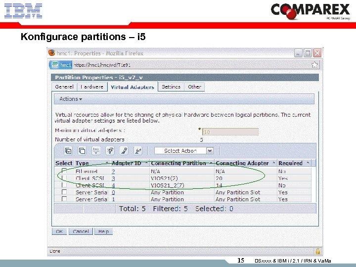 Konfigurace partitions – i 5 15 DSxxxx & IBM i / 2. 1 /