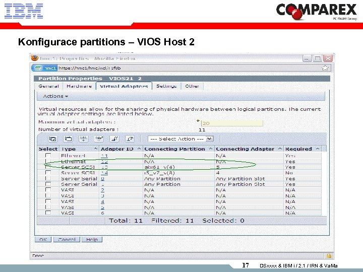 Konfigurace partitions – VIOS Host 2 17 DSxxxx & IBM i / 2. 1