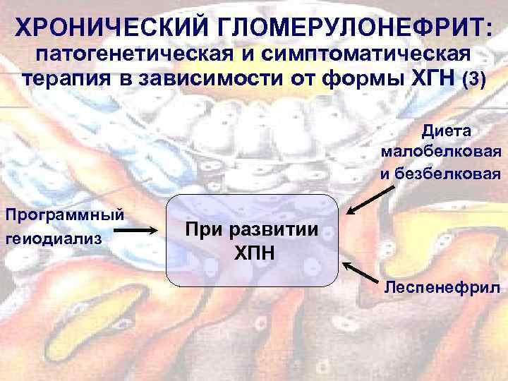 ХРОНИЧЕСКИЙ ГЛОМЕРУЛОНЕФРИТ: патогенетическая и симптоматическая терапия в зависимости от формы ХГН (3) Диета малобелковая