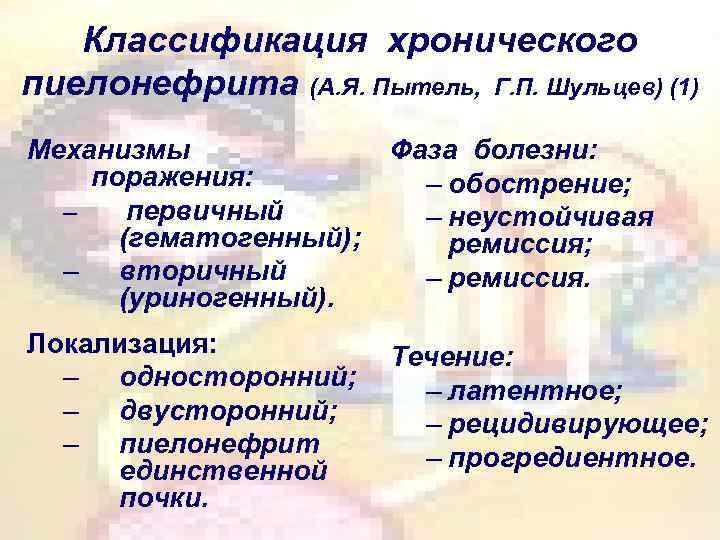 Классификация хронического пиелонефрита (А. Я. Пытель, Г. П. Шульцев) (1) Механизмы поражения: – первичный