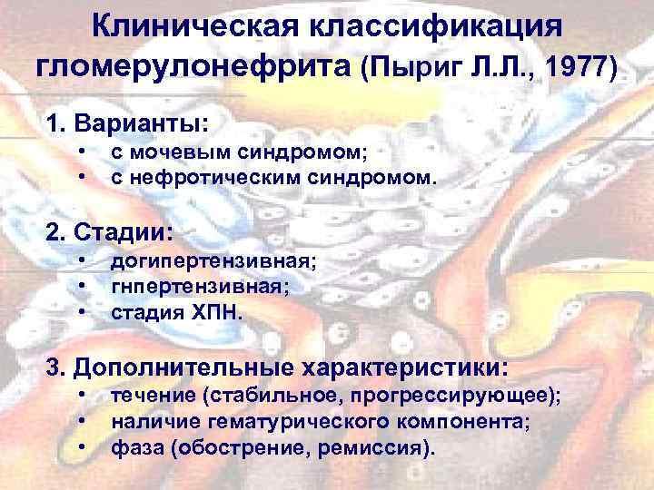 Клиническая классификация гломерулонефрита (Пыриг Л. Л. , 1977) 1. Варианты: • • с мочевым