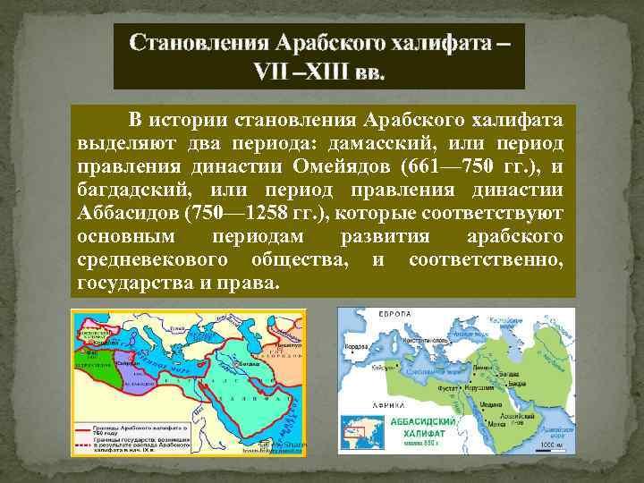 Становления Арабского халифата – VII –XIII вв. В истории становления Арабского халифата выделяют два