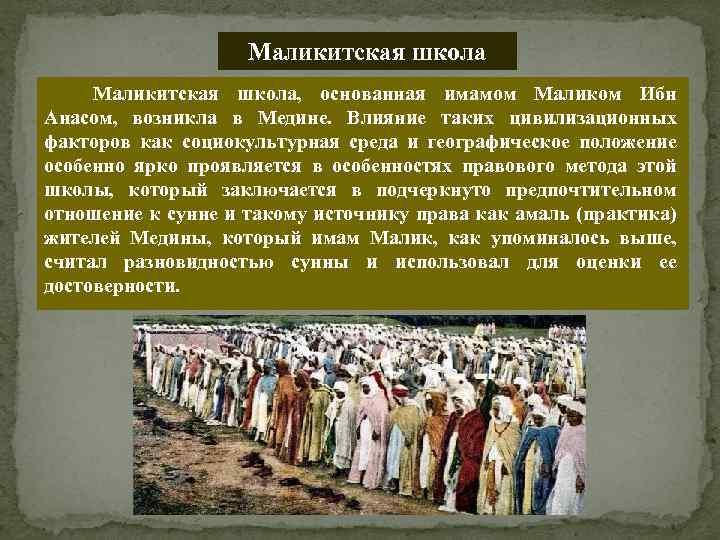 Маликитская школа, основанная имамом Маликом Ибн Анасом, возникла в Медине. Влияние таких цивилизационных факторов