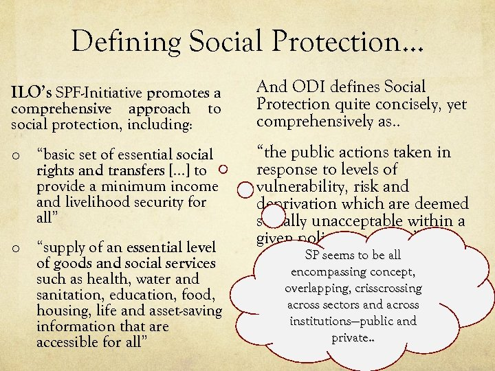 Defining Social Protection… ILO's SPF-Initiative promotes a And ODI defines Social Protection quite concisely,