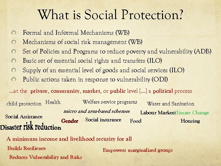 What is Social Protection? Formal and Informal Mechanisms (WB) Mechanisms of social risk management