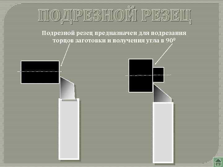 ПОДРЕЗНОЙ РЕЗЕЦ Подрезной резец предназначен для подрезания торцов заготовки и получения угла в 900