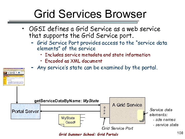 Grid Services Browser • OGSI defines a Grid Service as a web service that