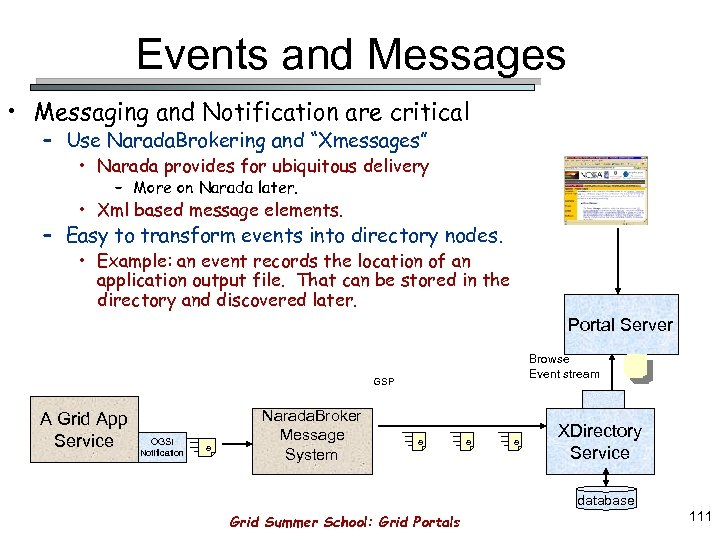 Events and Messages • Messaging and Notification are critical – Use Narada. Brokering and