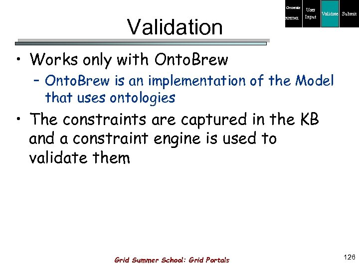 Generate Validation XHTML User Input Validate Submit • Works only with Onto. Brew –