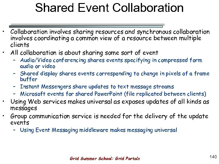 Shared Event Collaboration • Collaboration involves sharing resources and synchronous collaboration involves coordinating a