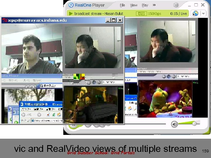 vic and Real. Video views of multiple streams Grid Summer School: Grid Portals 159