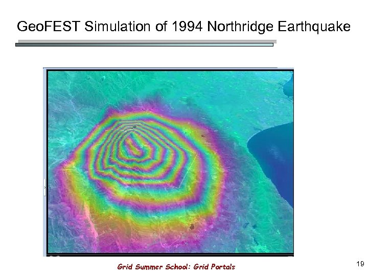 Geo. FEST Simulation of 1994 Northridge Earthquake Grid Summer School: Grid Portals 19